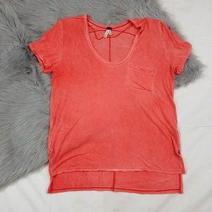 Free People Orange Tie Dye Tee Shirt Medium
